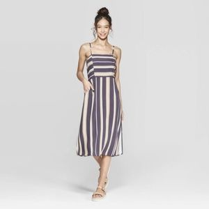 Striped Strappy Side Button Top Midi Dress